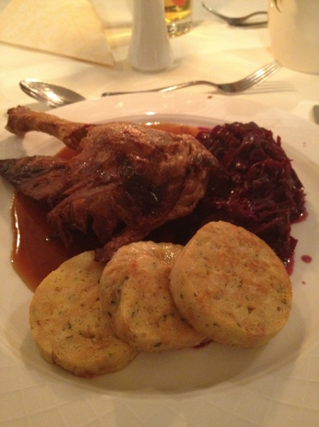 duck. red cabbage.